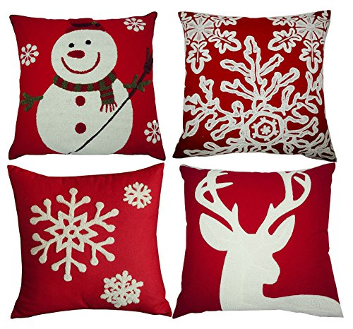 bluettek red embroidery christmas pillow covers set of 4 snowmanchristmas deer snowflake merry christmas decorative throw pillow case cushion covers 18 - Christmas Decorative Pillow Covers